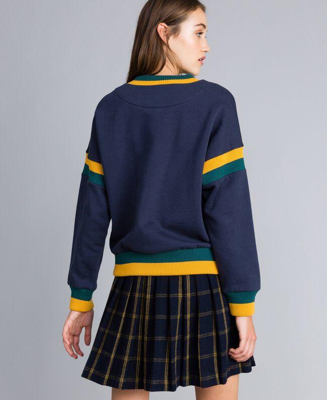 Sweat en coton lainé avec patchs Multicolore Bleu Nuit / Jungle / Or Femme YA82LQ-03