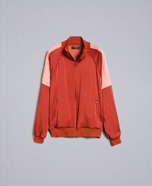 Sweat bicolore en envers satin Bicolore Orange Brûlée / Rose «Sable Rose» Femme TA824U-0S