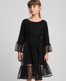 Tulle dress with flounce Black Child 192GJ2460-02