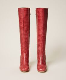 """Leather boots with crocodile print """"Peach Blossom"""" Pink Croc Print Woman 202TCP07C-05"""