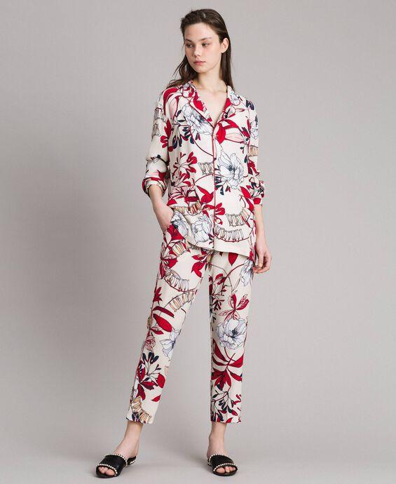 Floral print crêpe shirt
