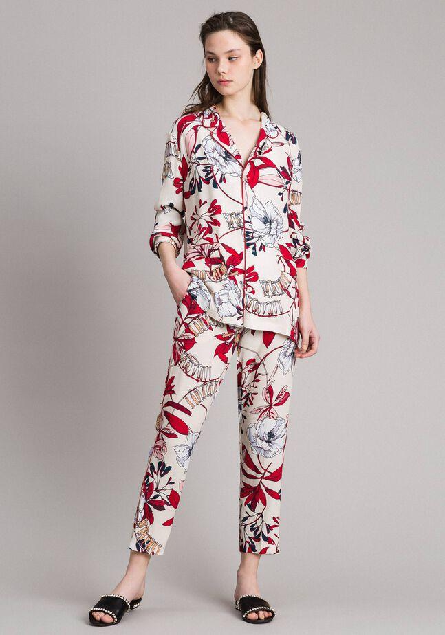 Camiseta de crepé con estampado floral