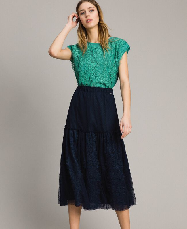 Tulle and lace mid-length skirt Blue Shadow Woman 191ST2072-01