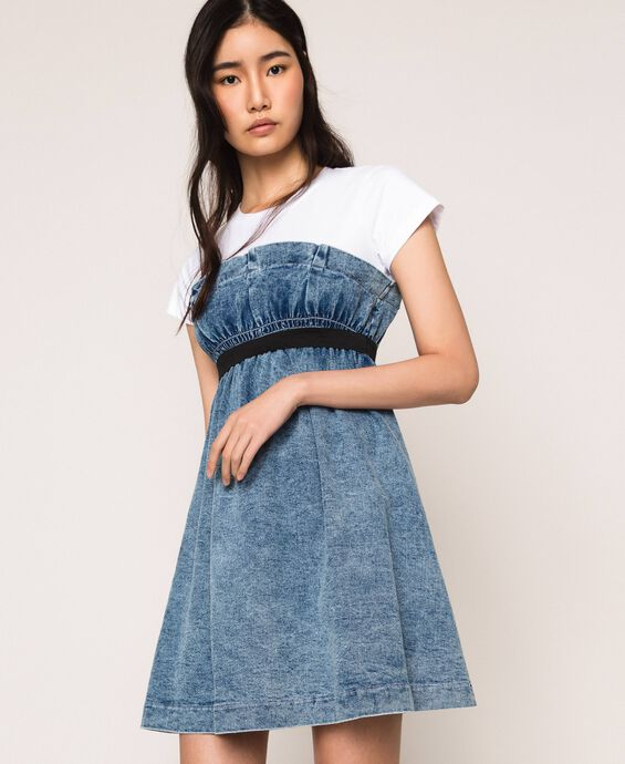 Denim dress with gathering