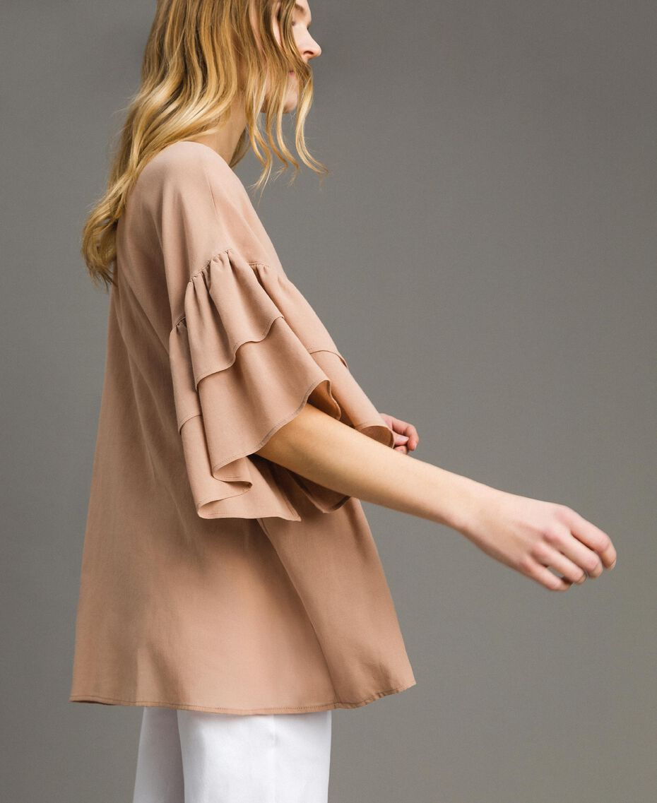 "Wide sleeve blouse with flounce ""Petra Sandstone"" Brown Woman 191LM2HCC-02"