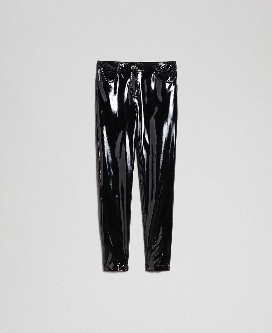 Legging en similicuir effet verni Noir Femme 192MT2090-0S