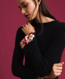 Kleid aus Mohair und bedrucktem Twill Schwarz / Foulardprint Frau 192TP3060-04