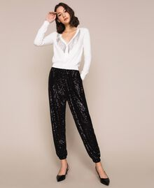 Sequinned joggers Black Woman 201LB21GG-02