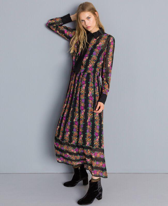 b7d787224f42 Floral print long georgette dress Flower and Black Stripe Print Woman  TA82X3-02