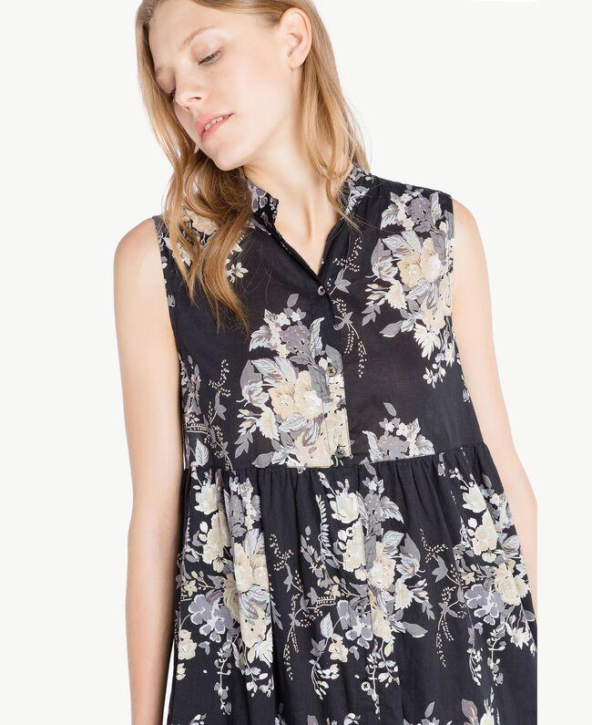 Langes Kleid mit Print Blumenbouquetprint Schwarz Frau YS82PH-04
