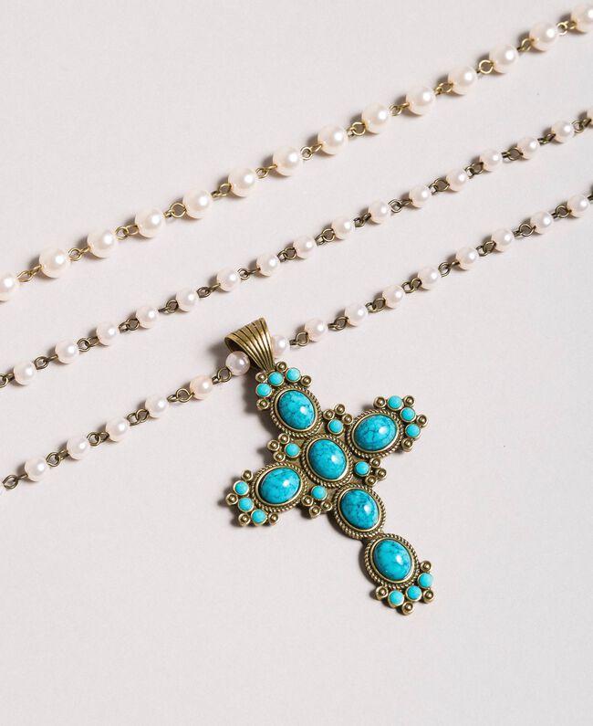 Rosario con perle e croce pendente Tile Blue Donna 191TO534G-01