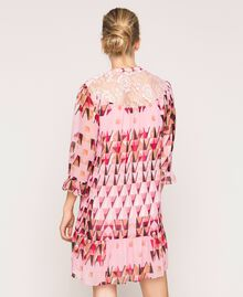 """Printed georgette dress with lace """"Candy"""" Pink Geometric Print Woman 201ST2180-03"""
