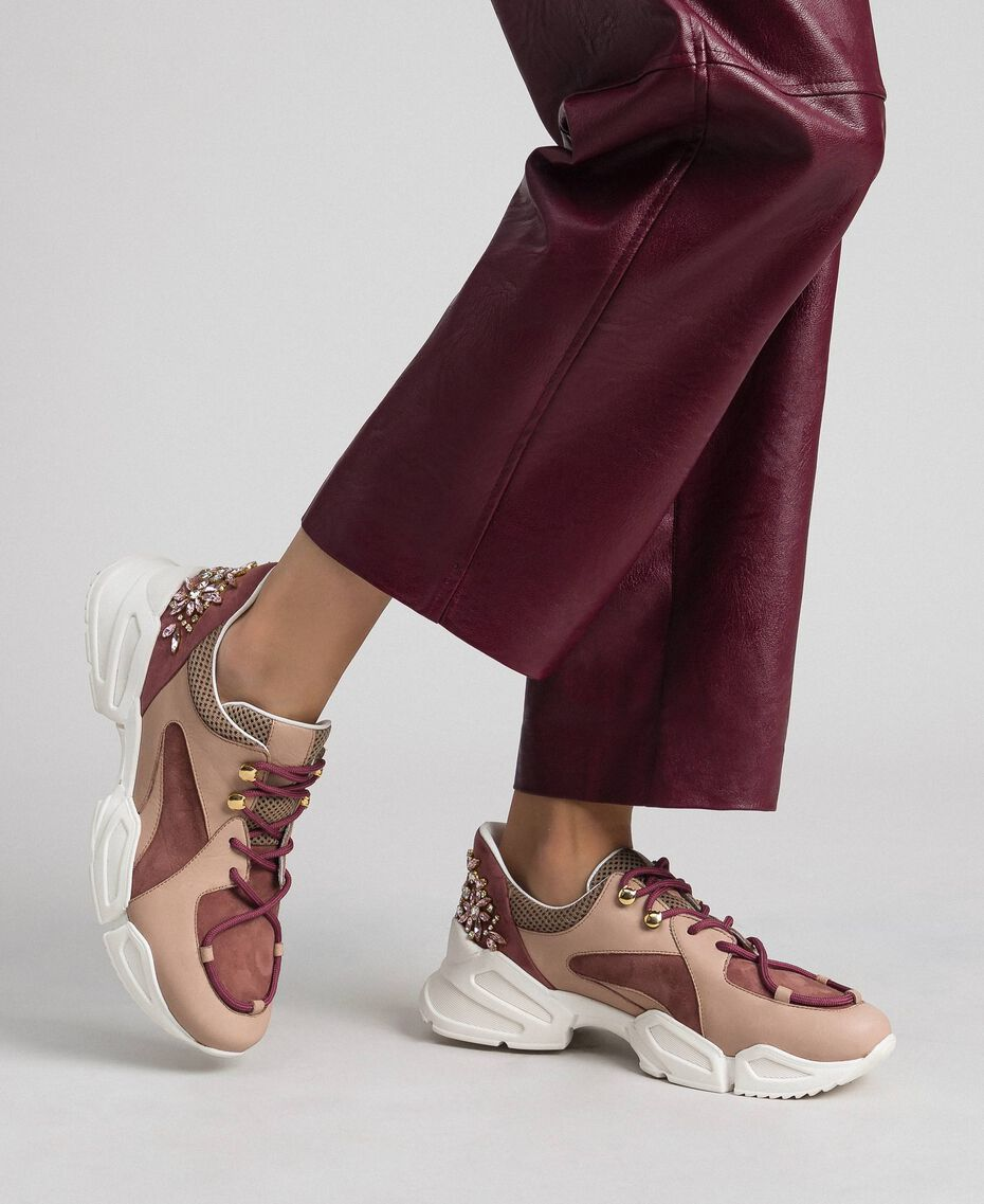 Chaussures de running en cuir avec strass Rose «Rose Nude» Femme 192TCT112-0S