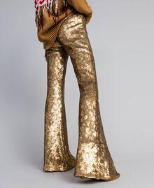 Hose mit Allover-Pailletten Gold Gelb Frau QA8TEF-01