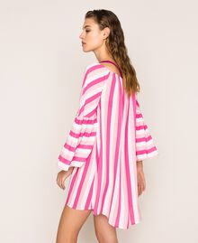 Striped kaftan with drawstring Multicolour Candy Pink / Shocking Pink / Optical White Woman 201LM2FEE-02