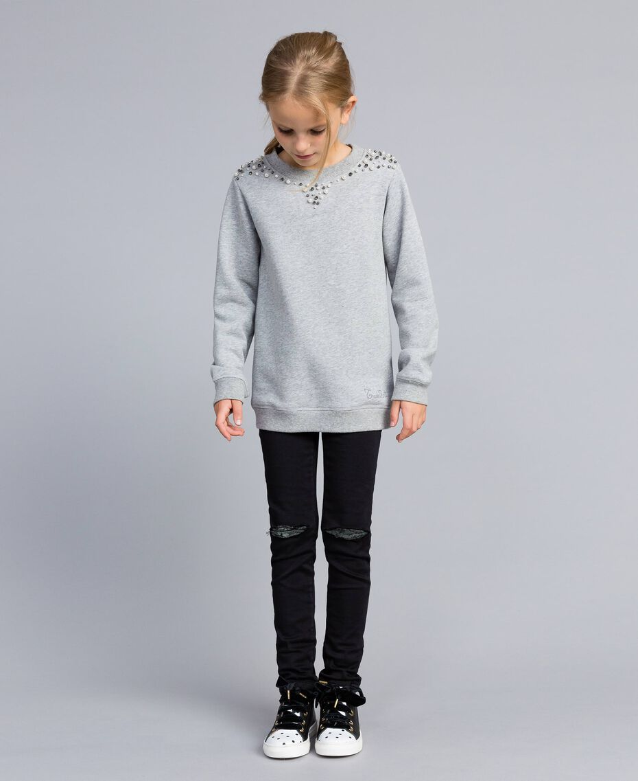 Sweat en coton avec perles et strass Gris clair chiné Enfant GA82V1-02