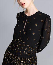 Robe longue en crêpe georgette avec broderie Noir Femme TA826A-04