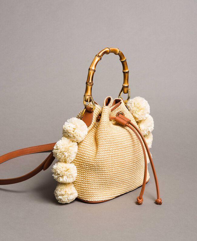 """Straw bucket bag with pompom """"Marzipan"""" Beige Woman 191TO8273-01"""