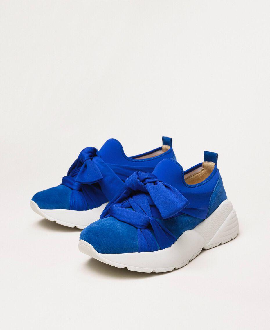 """Textilsneakers mit Knoten """"Hyazinthen""""-Blau Frau 201TCT110-02"""