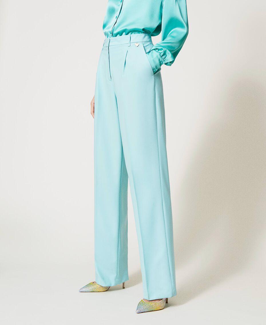 Pantalon en laine froide Vert «Nymphe Foncé» Femme 211TQ2057-02