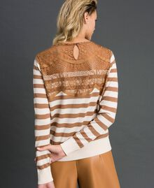 "Wool blend jumper with stripes and lace Creamy White / ""Sequoia"" Beige Woman 192ST3010-04"
