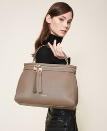 Large faux leather New Cécile bag Turtledove Woman 202TB7180-0T