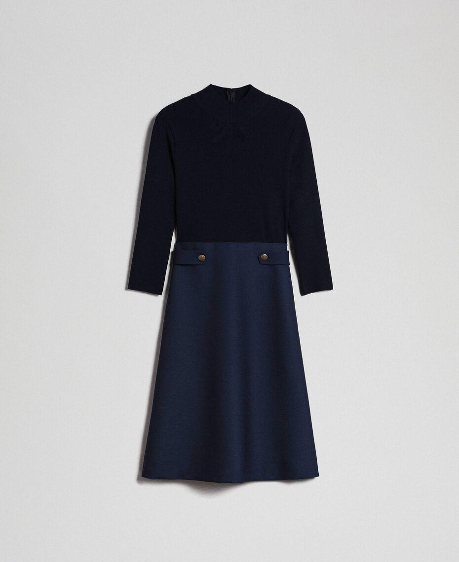 Kleid aus geripptem Gestrick und technischem Wollgewebe Midnight-Blau Frau 192TT3282-0S