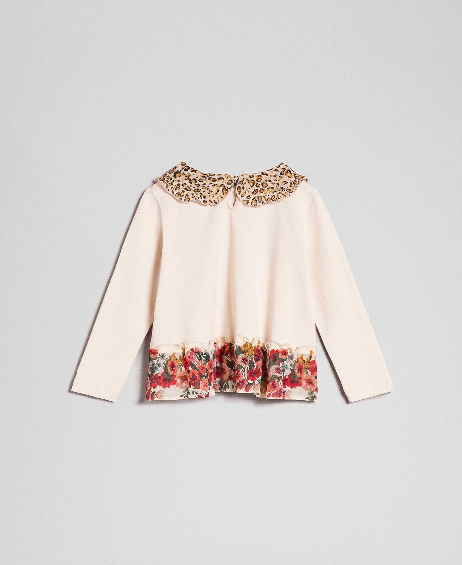Bluse mit Animal-Dessin am Kragen und Blumenmuster am Rumpfsaum Print Leopard / Blumen Kind 192GB2571-0S