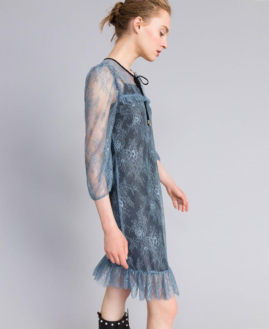 Robe en dentelle de Valenciennes Bleue poudre Femme PA82F1-02