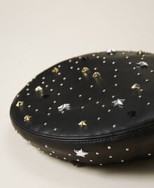 Faux leather beret with mixed studs Black Woman 202TA4452-02