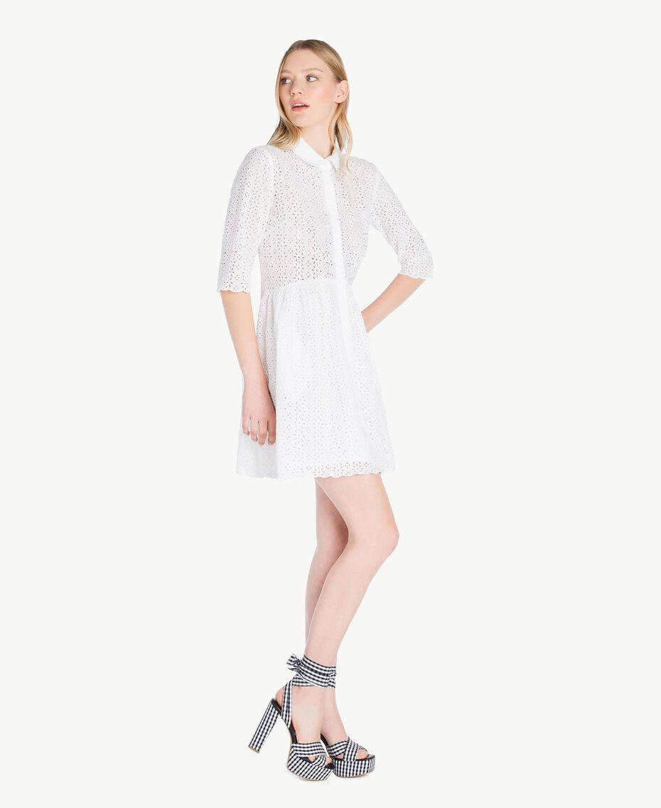 Kleid mit St. Galler Stickerei Mattweiß Frau YS82CA-02