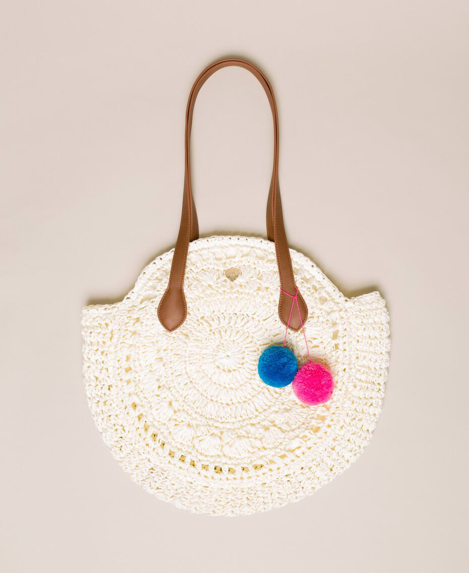 Raffia beach bag with pompoms Ivory Woman 201LM7LMM-01