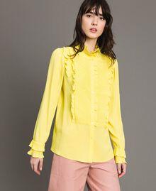 Rüschen-Hemd aus Seide-Mix Gelb Frau 191TP2134-05