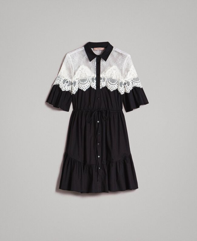 Poplin shirt dress with lace inlays Black Woman 191TT2121-0S