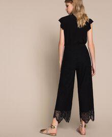 Macramé lace trousers Black Woman 201TP2033-03
