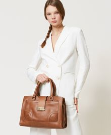 Leather shopper with buckle Leather Brown Woman 202TB7124-0S