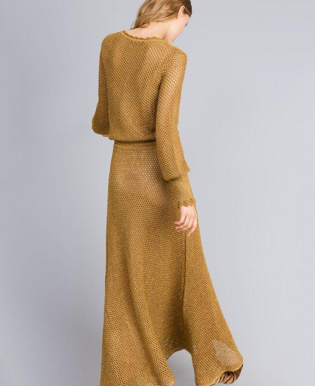 Maxikleid aus Lurex mit Netzmuster Gold Gelb Frau TA83EA-03