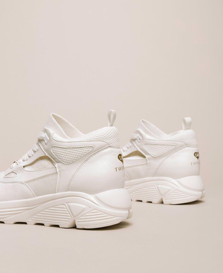 Sneakers in similpelle e maglia Avorio Donna 201LLPZBB-02