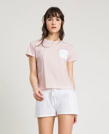 "Short gingham print pajamas ""Pink Bouquet"" Woman 191LL2ECC-0S"