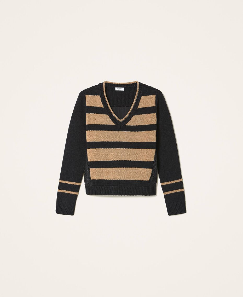 Pull à rayures avec dentelle Bicolore Noir / Brown Sugar Femme 202ST3051-0S