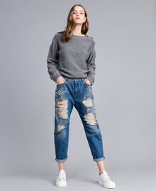 Jeans girlfriend con ricami Denim Blue Donna JA82V1-02