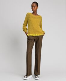 "Mohair jumper and feathered top ""Wasabi"" Yellow Woman 192TT3275-03"