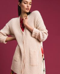 Mohair and printed twill cardigan