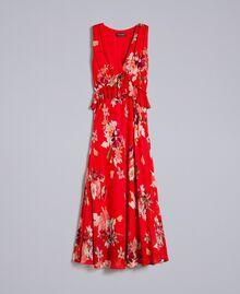 Robe longue en crêpe georgette floral Imprimé Jardin Rouge Femme PA8272-0S