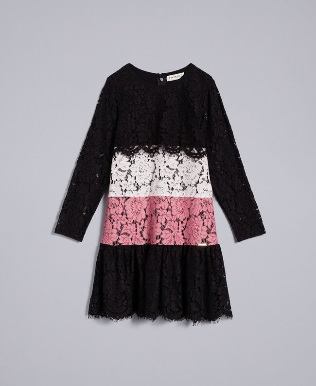 Robe en dentelle multicolore Multicolore Rose « Blush » / Noir / Roses Enfant GA82QC-01