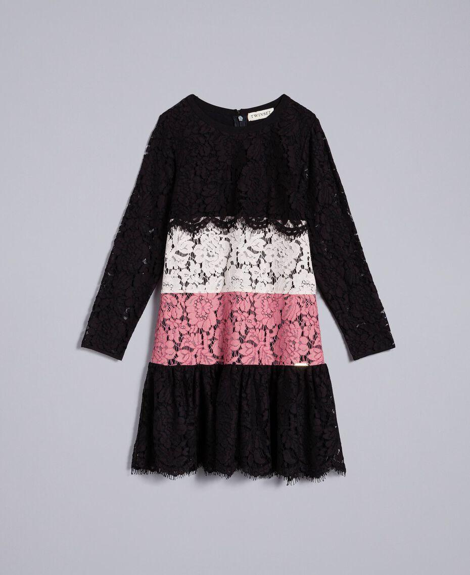 Robe en dentelle multicolore Multicolore Rose «Blush» / Noir / Roses Enfant GA82QC-01