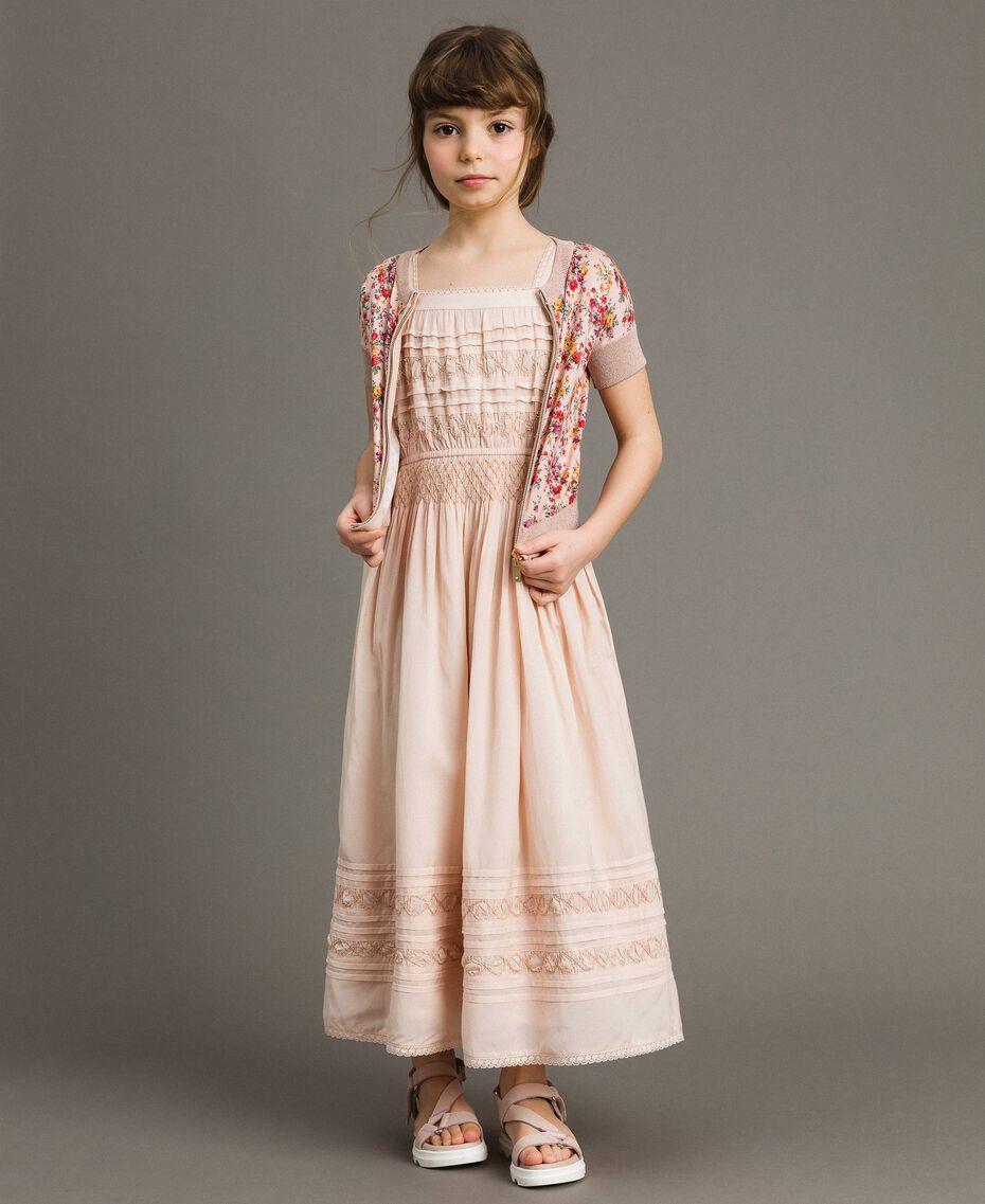 Robe longue avec broderies Rose En fleur Enfant 191GJ2353-0T