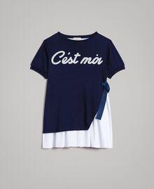 Kleid aus Milano-Strick mit Popeline-Volant Zweifarbig Indigo / Optisch Weiß Kind 191GJ2211-01