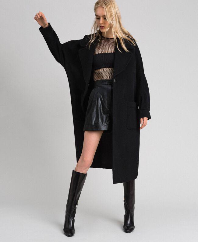 Long wool cloth coat Black Woman 192TT2600-01