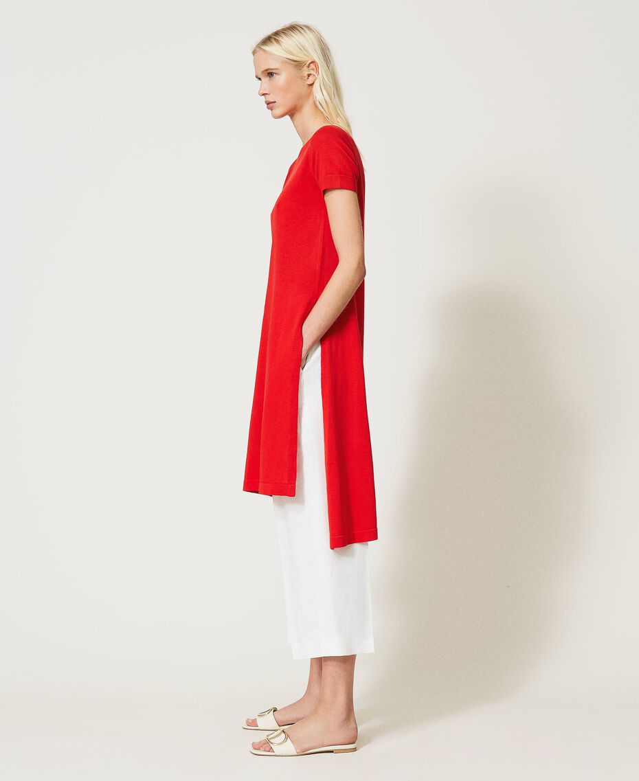 """Maxi maglia in misto lino con spacchi Rosso """"Corallo"""" Donna 211TT3153-03"""